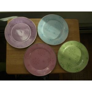Rosanna Colorful Snowflake Salad Plates Set of 4